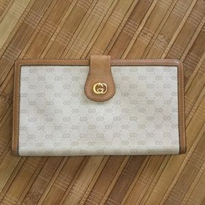 Vintage Gucci Lg Checkbook Wallet Clutch